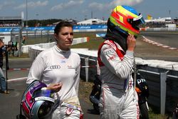 Oliver Jarvis, Audi Sport Team Phoenix and Katherine Legge, Audi Sport Team Abt out of the race