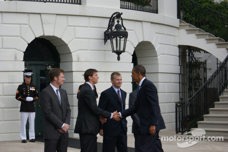 NASCAR Sprint Cup Series drivers Dale Earnhardt Jr., Denny Hamlin and Jeff Burton are welcomed to the White House in Washington, D.C. by President Barack Obama