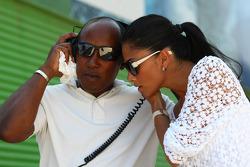 Anthony Hamilton, Father of Lewis Hamilton and Nicole Scherzinger, Singer in the Pussycat Dolls and girlfriend of Lewis Hamilton listen in to Lewis on the radio