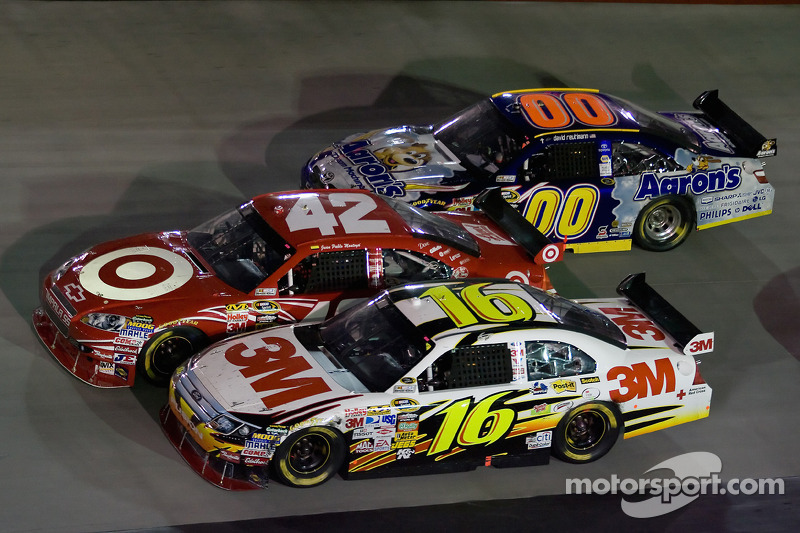 Greg Biffle, Roush Fenway Racing Ford, Juan Pablo Montoya, Earnhardt Ganassi Racing Chevrolet, David Reutimann, Michael Waltrip Racing Toyota