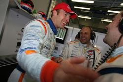 LMP1 pole winner Stefan Mücke celebrates