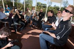 Pre-event press conference: Jacques Villeneuve, Ron Fellows, Scott Pruett and Brad Keselowski with members of the media