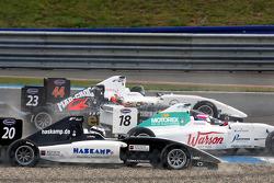 Henri Karjalainen, Natacha Gachnang and Jens Hoing involved in a first corner incident