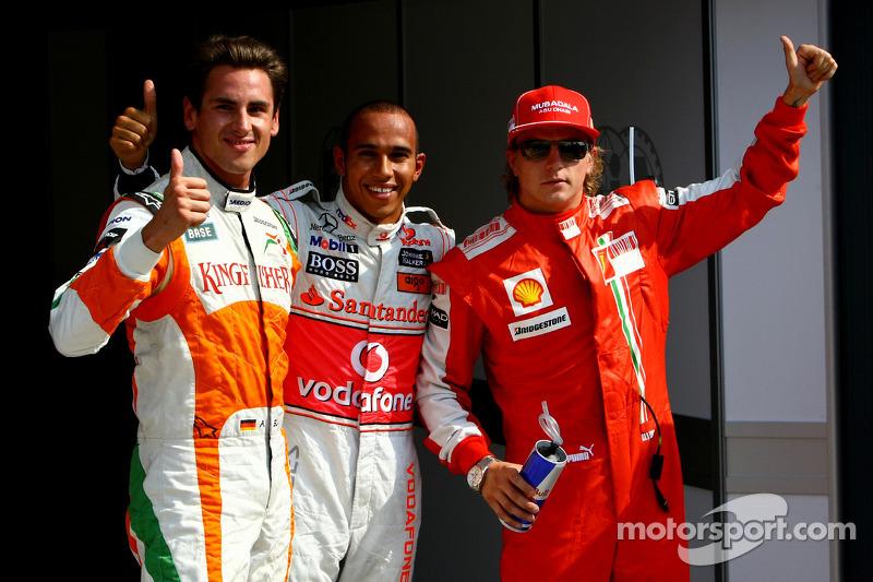 Ganador de la pole position Lewis Hamilton, McLaren Mercedes segundo Adrian Sutil, Force India F1 Te