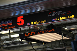 Pit sign for Lawrence Tomlinson, Nigel Mansell and Greg Mansell