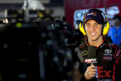 Victory lane: race winner Denny Hamlin, Joe Gibbs Racing Toyota gives a TV interview