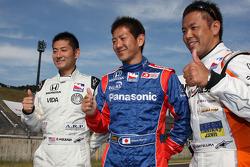 Japanse drivers Roger Yasukawa, Dreyer & Reinbold Racing, Hideki Mutoh, Andretti Green Racing, Kosuke Matsuura, Conquest Racing, pose for a photo