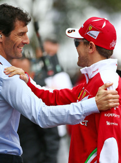 Mark Webber, Porsche Team WEC Driver and Sebastian Vettel, Ferrari