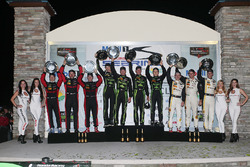 Overall podium: winners Johannes van Overbeek, Scott Sharp, Ed Brown, Pipo Derani, ESM Racing, second place Eric Curran, Dane Cameron, Scott Pruett, Action Express Racing, third place Joao Barbosa, Christian Fittipaldi, Filipe Albuquerque, Action Express R