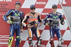 Polesitter Marc Marquez, Repsol Honda Team; 2. Valentino Rossi, Yamaha Factory Racing; 3. Jorge Lorenzo, Yamaha Factory Racing
