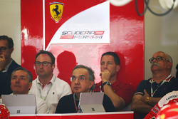 Sergio Marchionne, Ferrari President and CEO of Fiat Chrysler Automobiles watches the race