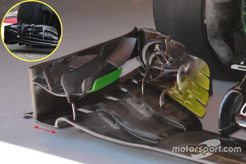 McLaren MP4-31 voorvleugel detail