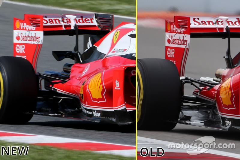 Ferrari SF16-H, Vergleich neuer und alter Heckflügel