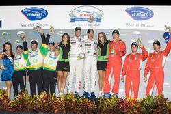 Class winners podium: P2 winners Butch Leitzinger, Marino Franchitti and Ben Devlin, P1 and overall