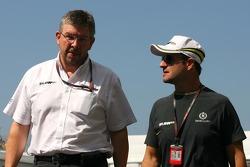 Ross Brawn Team Principal, Brawn GP and Rubens Barrichello, Brawn GP