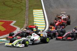 Jenson Button, BrawnGP, Lewis Hamilton, McLaren Mercedes
