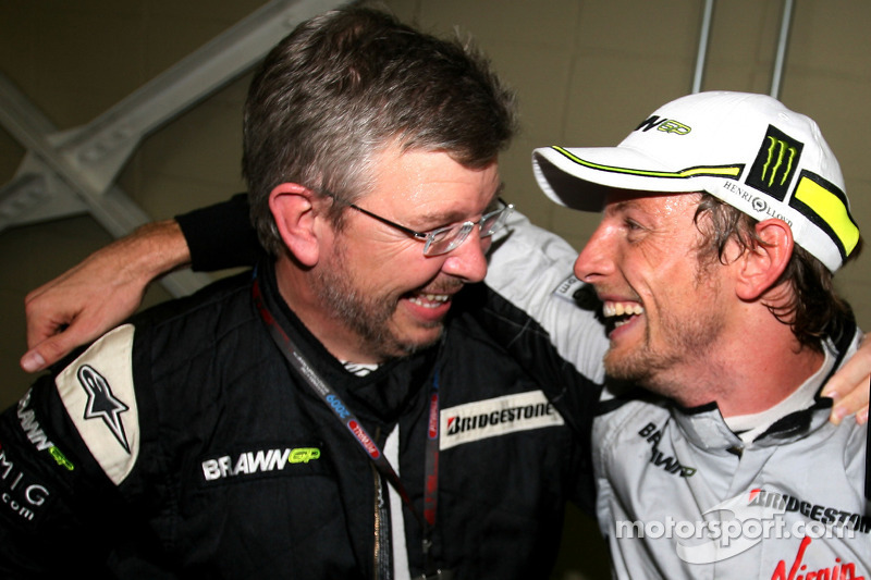Jenson Button, Brawn GP and Ross Brawn Team Principal, Brawn GP