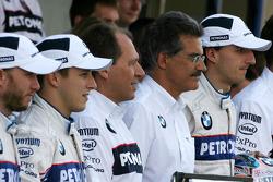 Robert Kubica, BMW Sauber F1 Team, Dr. Mario Theissen, BMW Sauber F1 Team, BMW Motorsport Director, Willy Rampf, BMW-Sauber, Technical Director and Christian Klien, Test Driver, BMW Sauber F1 Team