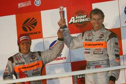 GT500 Championship podium: second place #8 Arta NSX: Ralph Firman, Takuya Izawa