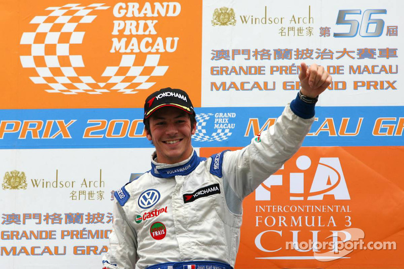 Podium: race winner Jean-Karl Vernay, Signature