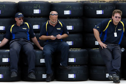 Goodyear Tire workers relax