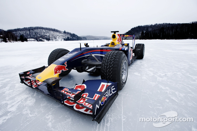 Red Bull Racing F1 car in the snow at Circuit Gilles-Villeneuve in Lac-Ã -l'Eau-Claire, Québec ...