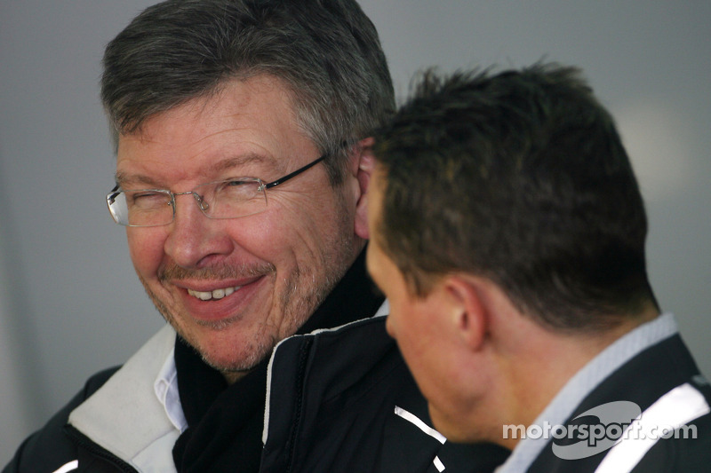 Ross Brawn Team Principal, Mercedes GP en Michael Schumacher, Mercedes GP