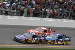 Matt Kenseth, Roush Fenway Racing Ford, Kurt Busch, Penske Racing Dodge and Juan Pablo Montoya, Earnhardt Ganassi Racing Chevrolet