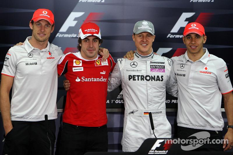 Die 4 Weltmeister: Jenson Button, McLaren Mercedes, Fernando Alonso, Scuderia Ferrari, Michael Schum