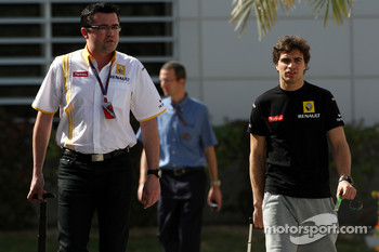 Jerome d'Ambrosio and his manager Eric Boullier, Lotus Reanult team principal