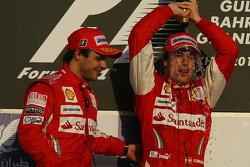 Podium: race winner Fernando Alonso, Scuderia Ferrari, with second place Felipe Massa, Scuderia Ferrari