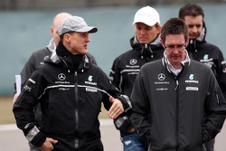 Michael Schumacher, Mercedes GP walk the circuit with Andrew Shovlin, Mercedes GP, Senior Race Engineer to Michael Schumacher