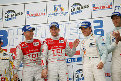LMP1 podium: class and overall winners Rinaldo Capello and Allan McNish, second place Adrian Fernandez and Harold Primat