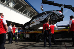 The damaged car of Miguel Molina, Audi Sport Rookie Team Abt, Audi A4 DTM brought back to the garage