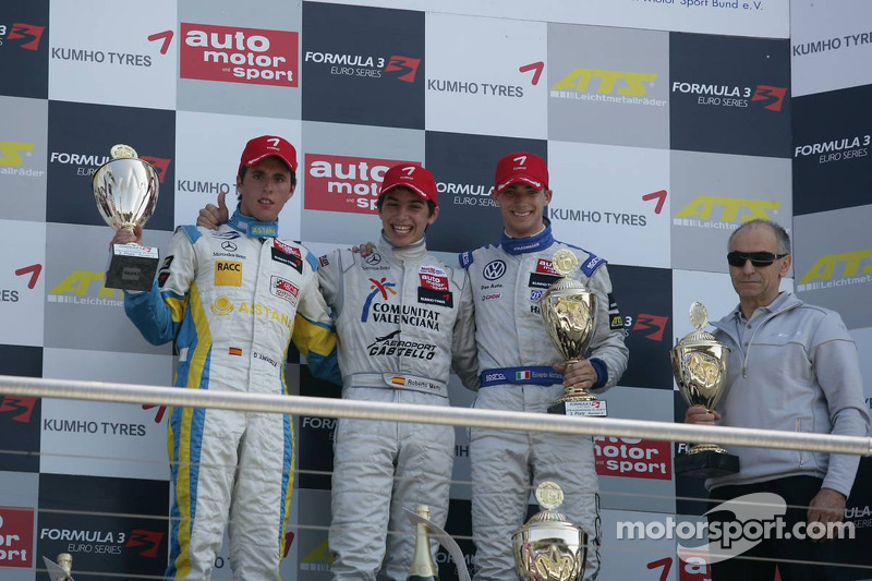 Podium 2de Daniel Juncadella, Prema Powerteam, Dallara F308 Mercedes, 1ste Roberto Merhi, Mücke Moto