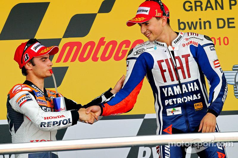 Podium: race winnaar Jorge Lorenzo, Fiat Yamaha Team, 2de Dani Pedrosa, Repsol Honda Team