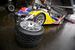 Michelin tire in front of the #4 Team Oreca Matmut Peugeot 908 HDi-FAP