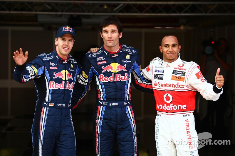 Sebastian Vettel, Red Bull Racing, Mark Webber, Red Bull Racing en Lewis Hamilton, McLaren Mercedes