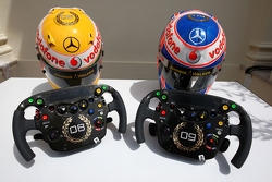 Lewis Hamilton, McLaren Mercedes, Jenson Button, McLaren Mercedes, Monaco editiion helmets and steering wheels with Steinmetz Diamonds