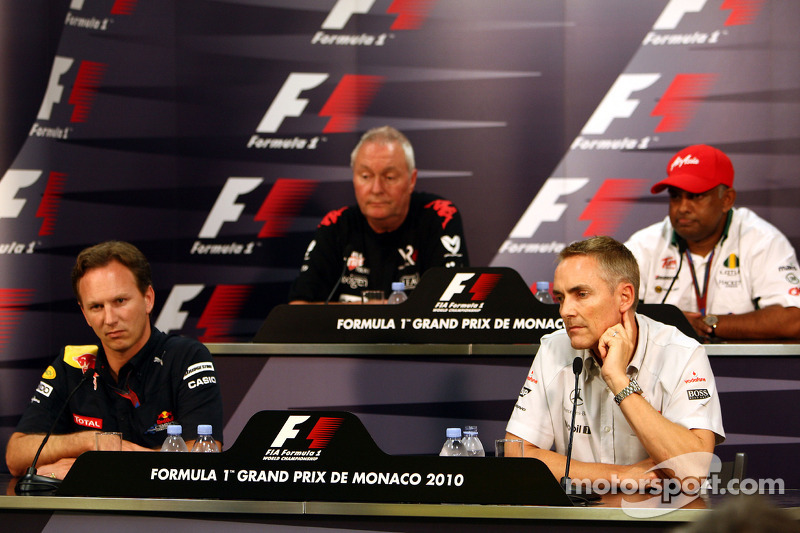 Christian Horner, Red Bull Racing, Sporting Director, John Booth, Virgin Racing Sporting Director, Martin Whitmarsh, McLaren, Chief Executive Officer, Tony Fernenes, Lotus F1 Team, Team Principal