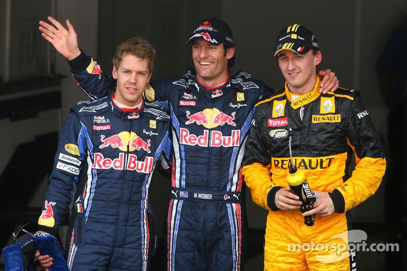 Polepositie Mark Webber, Red Bull Racing, 2de Robert Kubica, Renault F1 Team, 3de Sebastian Vettel, Red Bull Racing