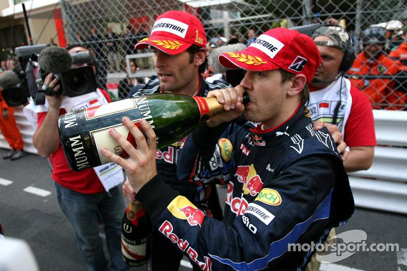 Podium: Sebastian Vettel, Red Bull Racing en Mark Webber, Red Bull Racing