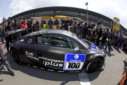The pole car #100 Team Abt Sportsline Audi R8 LMS heads to the starting grid