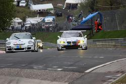 #85 Steam Racing Porsche 911: Michael Schratz, Johannes Siegler, #25 BMW Motorsport BMW M3 E92: Joerg Mueller, Augusto Farfus, Uwe Alzen, Pedro Lamy