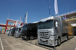 AMG Mercedes transporters in the paddock