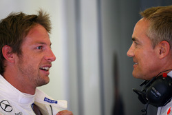 Jenson Button, McLaren Mercedes en Martin Whitmarsh, McLaren, Chief Executive Officer