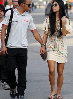 Lewis Hamilton, McLaren Mercedes, Nicole Scherzinger, chanteuse des Pussycat Dolls et petite amie de Lewis Hamilton