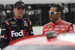 Denny Hamlin, Joe Gibbs Racing Toyota and Juan Pablo Montoya, Earnhardt Ganassi Racing Chevrolet