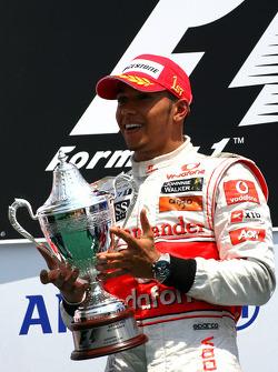 Podium: race winner Lewis Hamilton, McLaren Mercedes