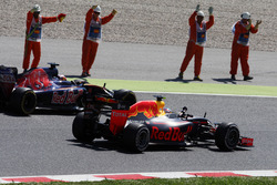 Race winner Max Verstappen, Red Bull Racing RB12 celebrates at the end of the race alongside the driver he replaced Daniil Kvyat, Scuderia Toro Rosso STR11
